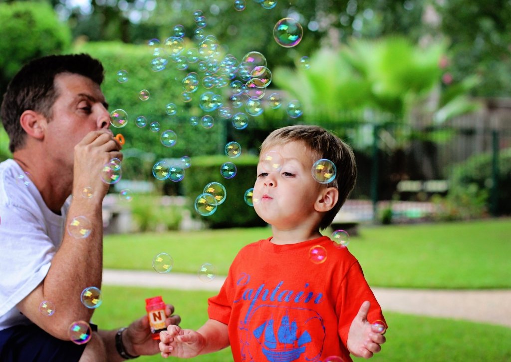 papa and grandson bubble time